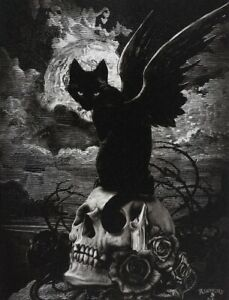 Alchemy Nine Lives Of Poe Black Cat Canvas Print Wall Plaque Gothic Art Wicca