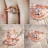 Women 2PCS 18K Rose Gold Filled White Sapphire Wedding Ring Engagement Jewelry
