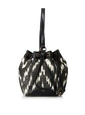 NWT $88 LUCKY BRAND Bali Hai Bucket Sling Hand Bag Black Beige Chevron