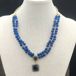 Barse Tropicana Necklace- Blue Agate and Bronze- NWT