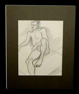 """1940s Hawaii Pencil Sketch """"Seated Man"""" by Robert Lee Eskridge (1891-1975)(BeG)"""