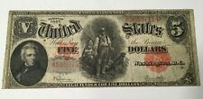 1907  UNITED STATES  NOTE LARGE $5 DOLLAR NOTE = CIRCULATED RED SEAL
