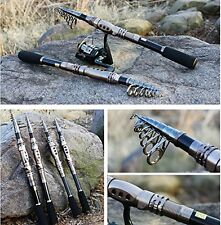 Plusinno Telescopic Fishing Rod Retractable Pole Aluminum Saltwater Travel