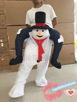 Mascot Xmas Fancy Dress Costume Outfit Adult Carry Me Piggy Back Ride On Snowman