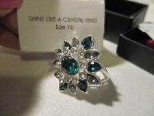 "AVON ""Shine Like a Crystal"" Silvertone/Green/Clear/Rhinestone   Ring   Size 10"