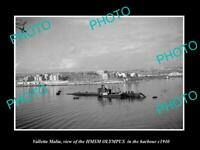 OLD POSTCARD SIZE PHOTO VALLETTA MALTA THE HMSM OLYMPUS IN HARBOUR c1940