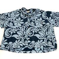 Go Barefoot Mens Button Up Blue Floral Hawaiian Shirt Made in Hawaii USA 3XL