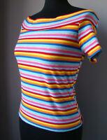 Top maglietta multicolore arcobaleno righe strisce spalle scoperte TAGLIA UNICA
