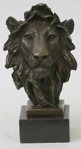 Bust Male Lion 100% Bronze Sculpture Statue Figurine Figure by Barye Art Deco NR