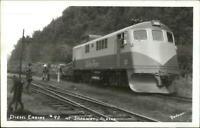 Skagway AK RR Train Diesel Engine #90 White Pass Real Photo Postcard