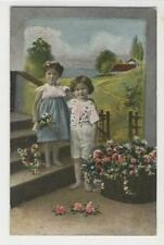 AK Kinder mit Blumen, Feldpost Marine IR 2, 1918
