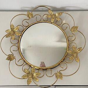 Round Vintage Gold Mirror Chippy Frame Floral