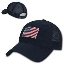 Navy Blue USA US American Flag United States America Trucker Baseball Hat Cap