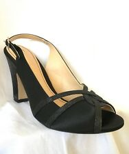 "NEW  ""Clarice"" TOBY Slingback Shoes - Black Satin w Shimmer - Wedding - Size 9"