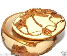 Art Nouveau Dragonfly Jewelry Box Trinket Resin box Gold Beige