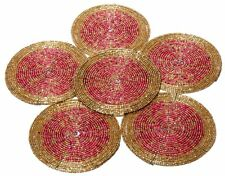 6 Multicolor Beaded Round Handmade Placemat Table Decor Coffee Tea Coaster