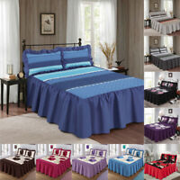 Bedspread Bed Throw Set Single Double King Size Quilted Frilled 3 Pieces Floral