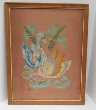 """Vintage SWANS TRI CHEM PAINTING Embroidery Paint on Satin Framed 18.75""""x 23 .75"""""""