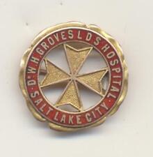Dr WH Groves LDS Hospital 14k Gold Nursing Pin Salt Lake City Ut 1921 Clara Hall