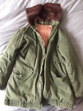 vintage army jacket with faux fur zipper hood
