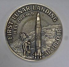 {BJStamps}  APOLLO 11 FIRST Lunar Landing High Relief .999 SILVER Medal 3.1 ozt