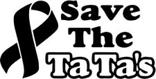 Save The Ta Ta's Breast Cancer Home Decor Car Truck Window Decal Sticker