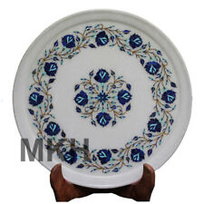 Italian Design Vintage Marble Inlay Plate Antique Serving Stone Art Pietra Dura