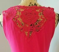 Womens CABLE & GAUGE Pink Tank Top Size Small S Floral Crochet Sleeveless Shirt