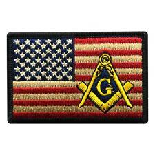 Masonic USA American Flag Patch [Iron on sew on-3.0 X 2.0 inch -MS4]