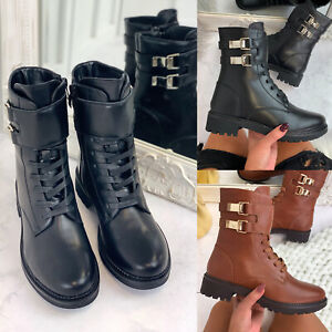 New Womens Heeled Double Buckle Ankle Boots Mid Heel High Top Shoes Black Patent
