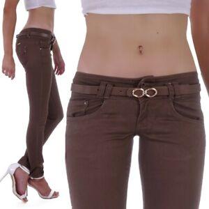 Damen Jeans Röhrenjeans Braun Stretch Skinny Rise Hose Low Waist Hüftjeans B11