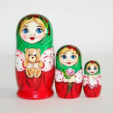 Nesting dolls Girl with bear and rose green / Hand-painted signed matryoshka