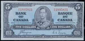 1937 Canada $5 Note Solid Extra Fine No Reserve Auction .99C Opening Bid