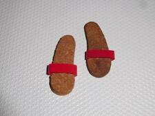 Barbie Vintage Ken Shoes Original Outfit Red Cork Sandals For Bathing Suit