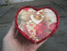 Valentines Day Vintage Style Heart Paper Box Red Tinsel Girl Clown Music Notes