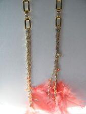 Bebe earrings stones chandelier peach gold feathers 190473