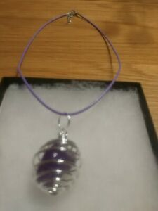New Amethyst Tubble Stone In Spiral Cage Necklace