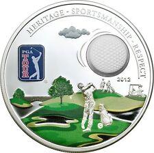 Official PGA Tour 3D Golf Ball Silver Proof Coin $5 Dollar Cook Islands 2012