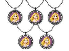 5 Disney Princess RAPUNZEL Tangled 3D Bottle Cap Necklace Birthday Party Favors