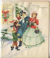 VINTAGE CHRISTMAS VICTORIAN CAROLERS SING SNOW WREATH LANTERN GREETING ART CARD