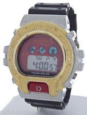 King Master Unisex Two-tone Black Rubber Strap Diamond .12ct Digital Watch