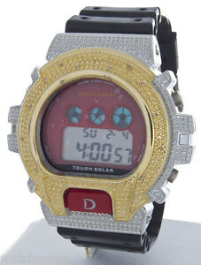 King Master Unisex Two-tone Black Rubber Strap Diamond .12ct Digital Watch