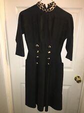 Vintage Jackie O Style Dress Black With Leopard Trim