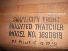 NLA  DEUTZ ALLIS  Simplicity -Lawn-Thatcher-Mfg-No-1690819   35 IN