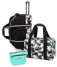 Victorias Secret Pink 3 Pc PALM Wheelie Luggage Suitcase Carry On Duffle NWT