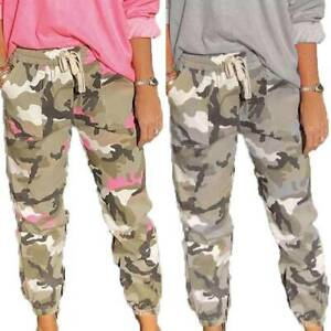 Women's Camouflage Trousers Elastic Waist Bottoms Jogger Gym Running Long Pants