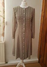 JAEGER vintage grey & ivory heart print button through tea formal dress 8 36 NEW