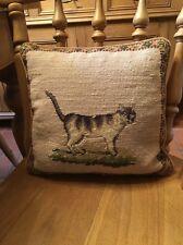 """Mayflower Pillow Hand Made Needlepoint Wool Zipper Animals Cat  10"""" X 11"""" Nice"""