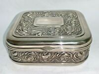 Vintage Int'l Silver Co Silverplated Rose Jewelry Trinket Box Velvet Lined NICE!