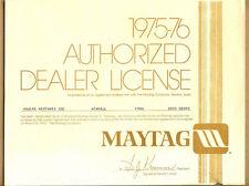 1975-76 Maytag Wash Machine, Newton, Iowa Dealer License, Houser Bros,Newhall,IA